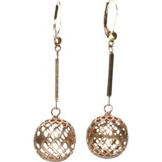 14 kt - Yellow gold earrings in the shape of openwork spheres - 4.8 x 1.3 cm