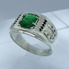 Emerald 1.55cts Men's Ring 925 Silver-size 10,5