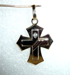 14 kt gold cross pendant with approx. 0.04 ct diamond - double cross