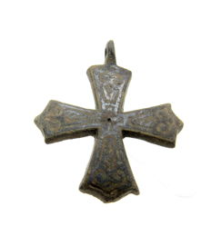 Medieval Bronze Cross Pendant with Silver Inlay - 37x30 mm