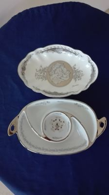 "Cake stand and appetizer dish in Limoges Porcelain ""Damiani"""