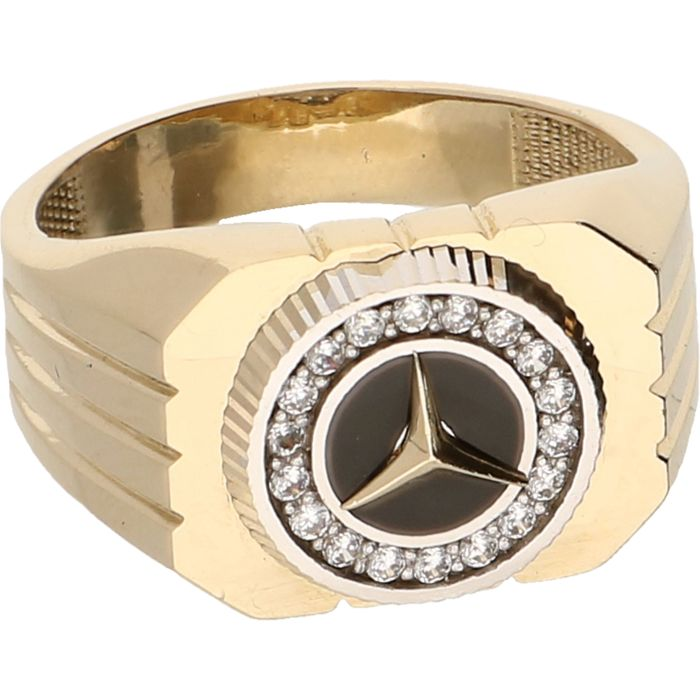 14 kt yellow gold signet ring set with zirconias and a for Mercedes benz ring