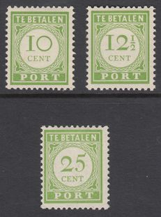 Curaçao 1945 - Postage due number and value in yellow-green (English print) - NVPH P31/P33