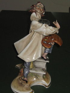 "Antonio Borsato, Milan - Ironic Figurine of a Painter, in USA there's one similar called ""The Artist painting"""
