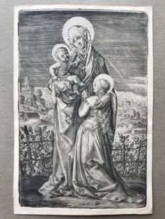 Dürer (after), attrib. to R. Sadeler (1560-1628). Madonna with Child and St. Anne, c. 1590