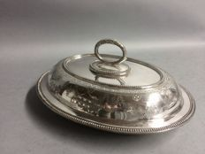 AA Silver plated double serving tray with removable knob, England, ca. 1935