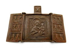 Bronze 3 Panel Icon depicting Mary & Jesus with Saints - 68x99 mm