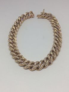 18 kt rose gold bracelet with 4.00 ct of diamonds, G/H, VS1, round