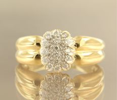 18 kt bicolour gold ring set with 16 brilliant cut diamonds, in total approx. 0.20 carat