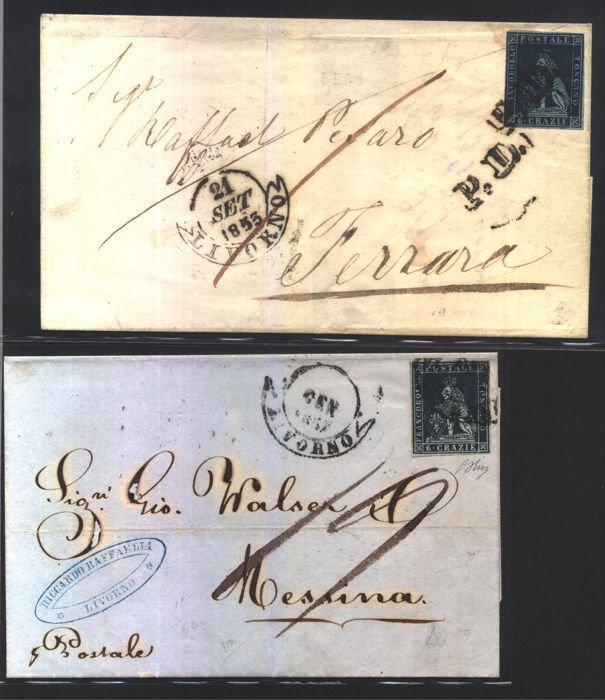 Tuscany 1851 - 6 crazie dark blue on blue on letter from Livorno to Ferrara, and 6 crazie indigo on grey on letter from Livorno to Messina - Sass. Nos.  7c and 7e