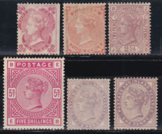 Great Britain 1862/1884 - Victoria lot of Yvert stamps 21, 25, 55, 87, 72/73