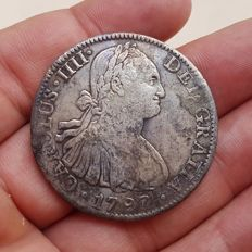 Spain - Carlos IV, 8 Silver Reales, Mexico 1793 (Assayer FM) - 39 mm / 26.24 g
