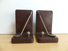 Book objects; Set of bookends with golf club and ball - late 20th century
