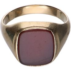 14 kt - Yellow gold signet ring set with carnelian - Ring size: 20.25 mm