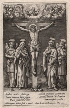 Hieronymus Wierix ( 1553--1619 ) - Christ on the Cross - Ca. 1580/1600