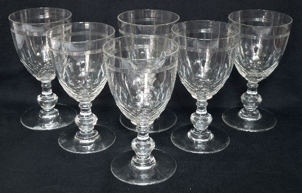 "Baccarat (France) - model ""Chauny with gondola foot "" - 6 wine or port wine glasses in crystal, France, late 19th century"