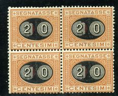 "Kingdom of Italy - 1890/1891 - Overprinted postage due,  ""20 c."" overprint on  1 in block of 4 - Sassone  no. 18"