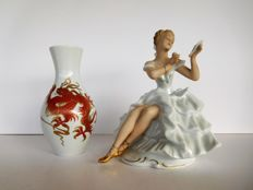 Wallendorf  - a very beautiful porcelain ballerina figurine and a gold dragon vase