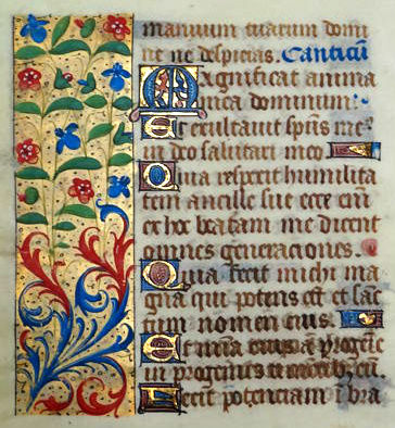 Manuscript; Leaf from an illuminated book of hours with red and blue wildflowers on a gilded border - vellum - Magnificat - Luke 1: 46-51 (France) - c. 1475