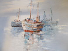 A large boat painting, oil on canvas, signed Cosway.