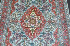 Hand-knotted original silk carpet Kashmir silk on cotton approx. 187 x 121 cm, fine knotting, approx. 400,000 knots, genuinely unique
