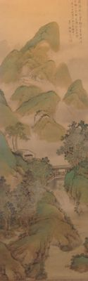 Scroll painting on silk depicting a mountainous Chinese landscape with waterfalls and some houses - Japan - circa 1920