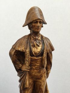 Figure of Spanish Bandit in polychrome stucco - Andalusia - mid of 19th century