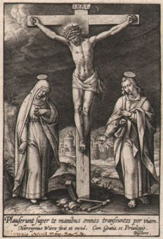 Hieronymus Wierix ( 1553--1619 ) - Christ on the Cross / First state - ca. 1595