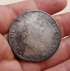 Spain - Carlos VII, 8 Silver Reales, Mexico 1814 (Assayer JJ) - 39 mm / 26.61 g