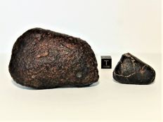 Two Ordinary Chondrites - Flight Oriented - 70 x 50 x 25mm and 35 x 25 x 10mm - 156.10gm and 18.90gm  (2)