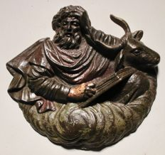 A very detailed fine cast iron relief of the evangelist Lucas and Bull - 19th century