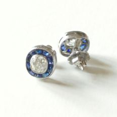 Antique fine diamond and sapphire earstuds.
