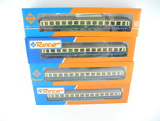 Roco H0 - 4 x coupe carriages 2nd class of the DB, beige/blue [486]
