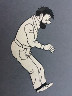 Tintin - Dessin encre de Chine - Capitaine Haddock - Objectif Lune - (1953)