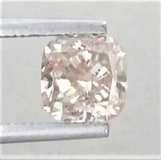 Cushion Cut  - 1.64 carat - Natural Fancy Champagne - VS2 clarity- Comes With AIG Certificate + Laser Inscription On Girdle