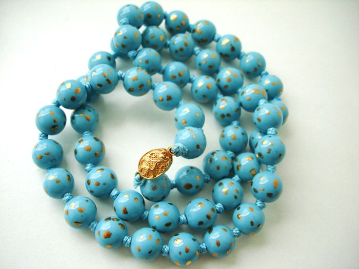 Vintage (1950s) Chinese Export to USA - Turquoise blue Porcelain Oriental Beaded Necklace with filigree clasp