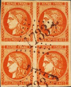 France 1870 - Released by Bordeaux bright orange 40 centimes block of 4 - Yvert 48a