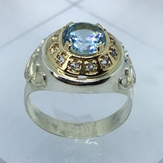 14kt solid gold & silver 2.60ct Swiss Topaz mens ring - size 11