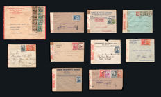 Portugal, Mozambique 1930–1945 - Lot with 10 letters with various censorship marks.
