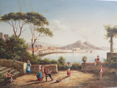 (Attributed) Giovanni Serritelli (1809-1882) Scena di vita napoletana