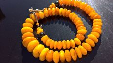 Antique natural egg yolk Amber necklace, 187 grams, Russia