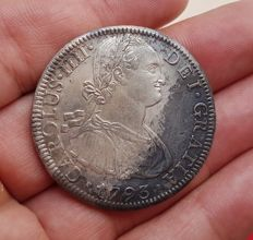 Spain - Carlos IV, 8 Silver Reales, Mexico 1793 (Assayer FM) - 39 mm / 26.93 g