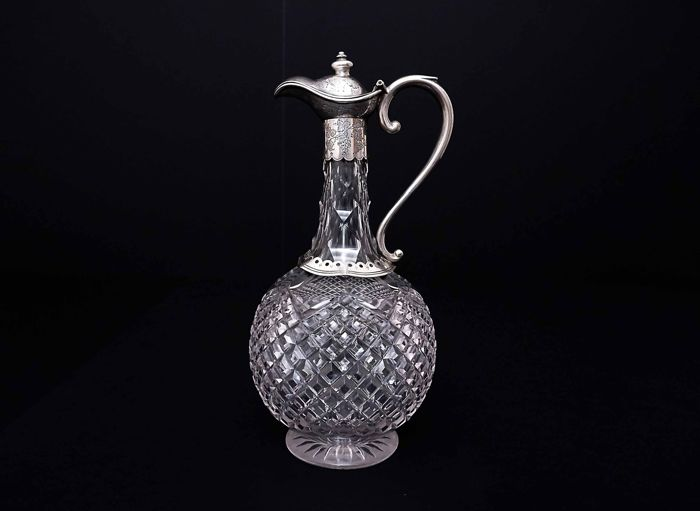 Victorian Cut Glass and Sterling Silver Mounted Claret Jug - London - 1869