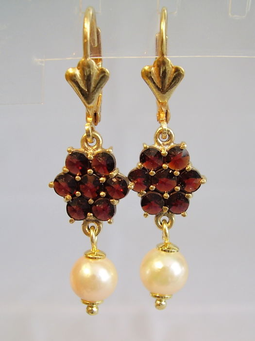 Antique Victorian earrings with garnet roses and white Akoya pearls.