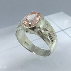 Morganite 2.10ct Cross Men's Ring 925 silver - size 10.5