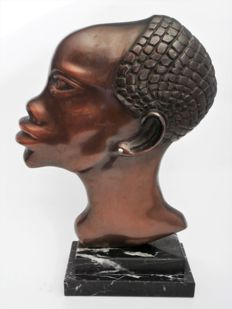 Art Deco bronze sculpture of an African man