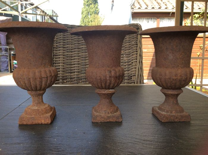 3 French Cast Iron Vases