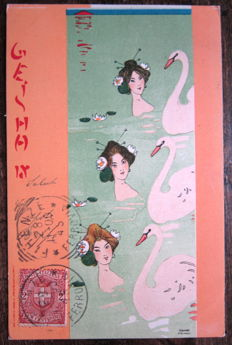 Early '900 - Lot of 9 Fantasy postcards (young women) signed - Illustrator Raphael Kierchner