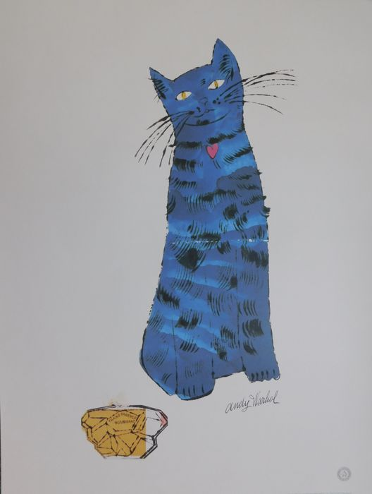 Andy Warhol - Blue Cat and Perfume Bottle (1954)