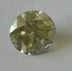 Very beautiful diamond of 2.01 ct, natural fancy greyish yellow, clarity SI2